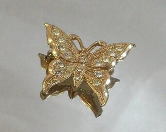 FALL SALE Vintage Butterfly Brooch Clear Rhinestones