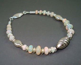 Opal Bracelet, Large Pastel Ethiopian Fire Opals and Sterling Silver Beads Bracelet, Fire Opal Bracelet, Fire Opal Jewelry ON SALE