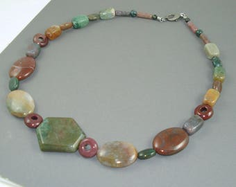 Fancy Jasper Necklace, Eighteen Inch Strand of Moss Green, Wine, Mauve and Gold Jasper Gemstone Beads