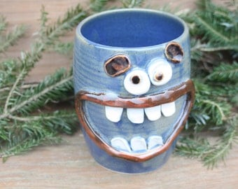 Kitchen Utensil Holder Jar. Happy Smiley Face Pots. Fresh Cut Flower Vase in Blue. Kitchen Storage Container Crock. Gifts for the Home