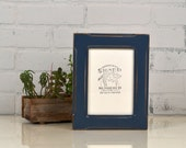 "5x7"" Picture Frame in Wide Bones Style with Vintage Navy Blue Finish - IN STOCK - Same Day Shipping - 5 x 7 Photo Frame - Rustic Navy Frame"