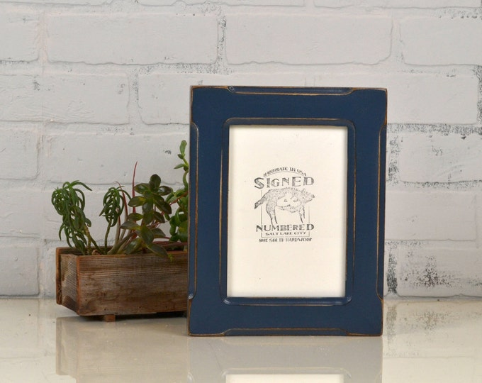 """5x7"""" Picture Frame in Wide Bones Style with Vintage Navy Blue Finish - IN STOCK - Same Day Shipping - 5 x 7 Photo Frame - Rustic Navy Frame"""