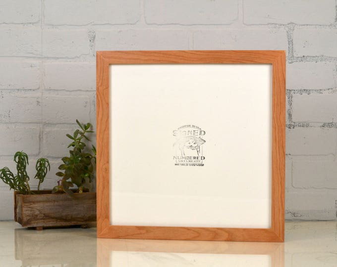 "12x12"" Square Picture Frame in 1x1 Flat Style on Alder with Natural Finish - IN STOCK Same Day Shipping - 12 x 12 Wood Photo Frame"