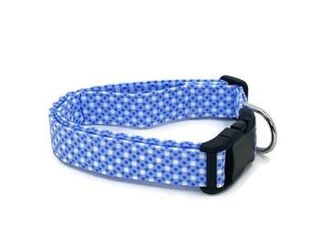 Carolina Gentleman Pin Polka Dots Carolina Blue and White Dog Collar