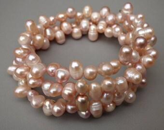 """Peach Pearl Bracelet - Wrap Around Bracelet, 29"""", wraps 3 1/2 times - Genuine Freshwater Pearls 5x7mm, Wedding Jewelry, Bride's Jewelry"""