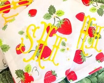 Starwberry vine monogram napkins