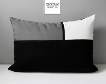 Black White & Grey Outdoor Pillow, Modern Color Block Pillow Cover, Decorative Pillow Cover, Gray Sunbrella Cushion Cover, Mazizmuse
