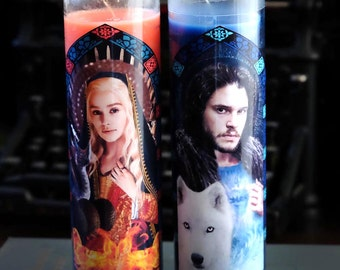 Saints Daenerys and Jon Snow Prayer Candles / Game of Thrones / Set of 2