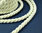 Twisted silk cord, 9mm, off white satin cord, 1 meter