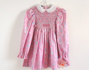 """Vintage 1980s Girls Size 6X Polly Flinders Hand Smocked Dress NWT / b24"""" L25"""" /Prairie Girl Laura Ashley Style, Mauve Floral Cotton"""