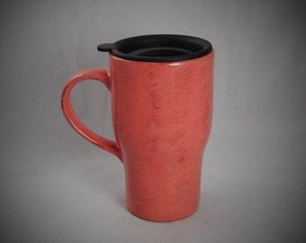 Coral Pink Ceramic Travel Mug with lid