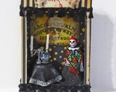 Skeleton Fortune Teller Diorama - Gothic Shadow Box Shrine - Skeleton Paperclay Doll - Miniture Fortune Teller Diorama