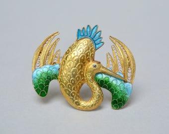 Vintage Enameled Filigree Bird Pin . Gold Plate . Detailed Pin . Beautiful Bird Pin