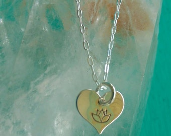 LOTUS LOVE Charm, Lotus Flower Jewelry, Tiny Heart Necklace with Lotus in Sterling Silver, Yoga Inspired Jewelry (#049)