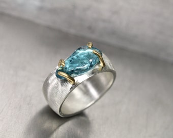 Raw Blue Zircon Silver 22k Yellow Gold Ring Wide Textured Band Tumbled Clear Ocean Water Colored Gemstone Surfing Beach Zen - Barrel Wave