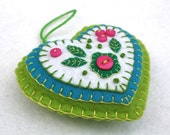 Valentines heart ornament, Embroidered felt heart ornament, Pink and green heart, Felt heart Christmas ornament, Handmade heart ornament