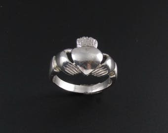Sterling Silver Claddagh Ring, Claddagh Ring, Irish Ring, Celtic Ring