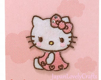 Hello Kitty & Cute Ribbon Bow Patch, Kawaii Sanrio Embroidered Iron On Patch, Japanese Pink Iron on Applique, Girl Embroidery Applique, W223