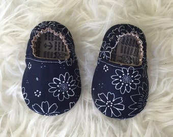 White Floral on Navy Baby or Toddler Moccs - Made to Order