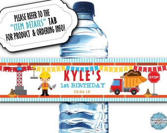 10 Waterproof Peel & Stick Water Bottle Labels, Contsruction Theme, Dump Truck, Builder, Crane, Stop Sign, Birthday Party