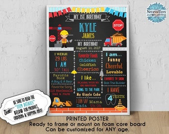 PRINTED Birthday Poster, 11x14, 16x20, 18x24, Construction Theme, Builder, Crane, Stop Sign, Dump Truck, Chalkboard Look Sigor Any Age