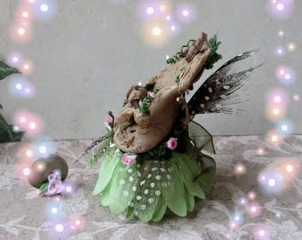 Faery Dollhouse Miniature furniture  whimsical butterfly baby chair w pink roses fairy nature twigs  ooak fae fantasy themed