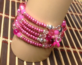 Czech Pink metallic e-beads give this Bracelet a lot of Pizzazz! Silver-plated findings spacers Lobster clasp clip Breast Cancer Awarenes