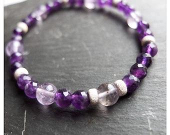 Amethyst stacking bracelet - Sterling silver stardust beads - Zambian amethyst - unique gemstone jewellery