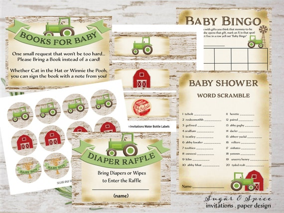 Baby Shower Game Package, Tractor baby shower printable games, Farm Baby Shower Decor, Printable Baby Shower Games
