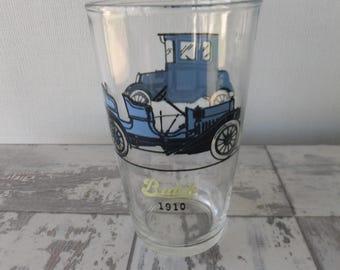 Vintage Hazel Atlas Antique Cars Glass Tumbler Blue Old Timers Old Autos 1910 Buick 1911 Oakland Retro