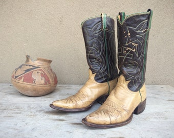 Vintage Tony Lama Cowboy Boots Womens Size 8.5 to 9, Brown Leather Boots, Vintage Cowboy Boots, Womens Boots