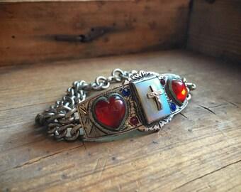 Midcentury Catholic Sacred Heart cross bracelet, 1950s heavy chain bracelet, Catholic bracelet, Men's Catholic jewelry, Confirmation jewelry