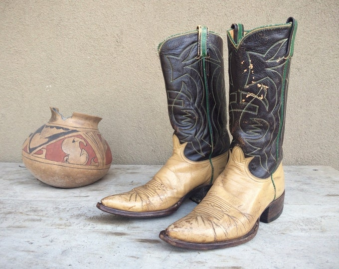 Featured listing image: Vintage Tony Lama Cowboy Boots Womens Size 8.5 to 9, Brown Leather Boots, Vintage Cowboy Boots, Womens Boots