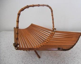 1960s vintage bamboo fuit basket