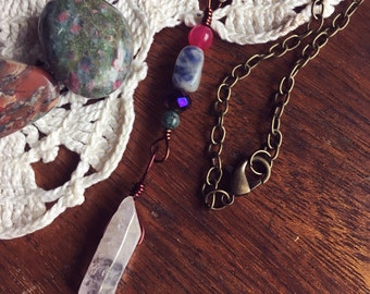 SALE! Aura Quartz Wire Wrapped Beaded Pendant Necklace