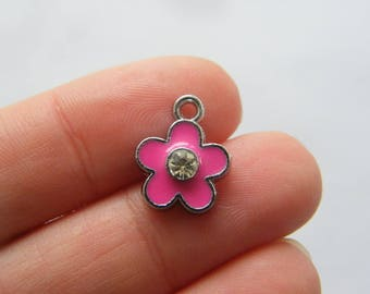 4 Flower pink charms silver tone F180