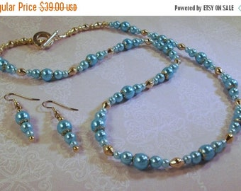 On Sale Silver and Turquoise Pearl Necklace/Earrings
