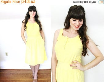 ON SALE 1970s Terry Cloth Dress / 70s Yellow Towel Beach Cover Up