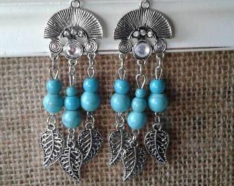 Leaf Turquoise Rhinestone Earrings