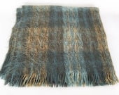 Vintage Plaid Mohair Throw Shades of Blue and Green Made in Scotland