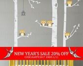 End Of Year Sale - Birch Tree Wall Decal, Birch Tree With Owls Wall Sticker Set, Birch Tree Decal, Baby Nursery Wall Stickers W1118