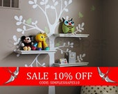 Sale - Wall Decals Baby Nursery Decor: Shelving Tree Decal with Birds - Original Wall Decal