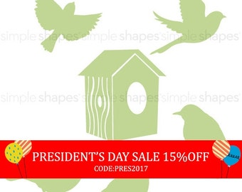 President's Day Sale - Additional Set of Birds and Birdhouse for Shelving Tree Wall Decal