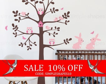 Sale - Tree wall decal with animals - Owl Rabbit Bird Tree Wall Decal - Shelving tree decal - wall decal - baby nursery decal
