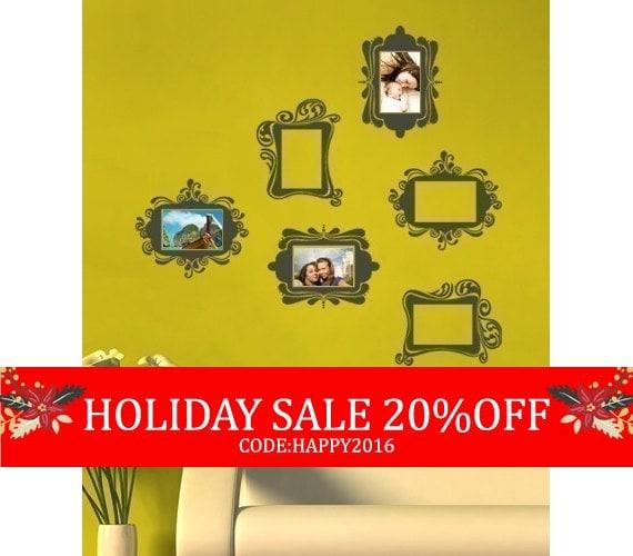 Holiday Sale - Vintage Photo Frames - Vinyl Wall Sticker