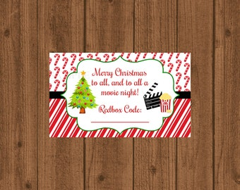 Redbox Gift Tag, Movie Certificate, To all a Movie Night Gift Card, DVD Gift Card, Redbox Coupon Code, Stocking Stuffer, Instant Download