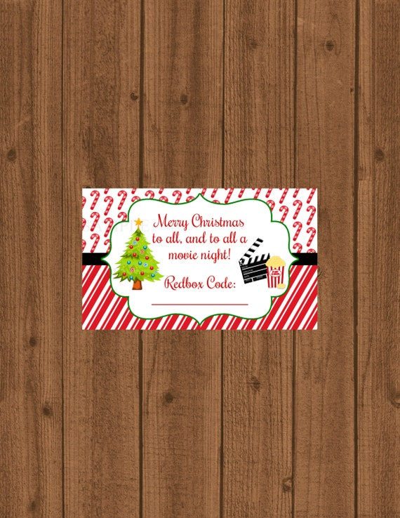 Redbox Gift Tag, Movie Certificate, To all a Movie Night Gift Card ...