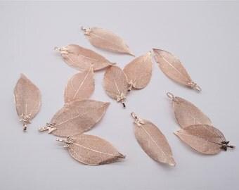 Nature Tree Leaf Charm - Vein Leaves, Rose Gold Leaf Charm,  Real Nature Leaf Pendant, Metal Plated Natural Leaf, Filigree Leaf Charm