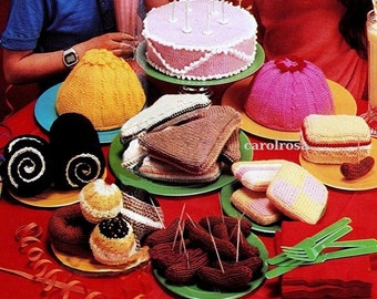 Knitting PATTERN - Knitted Tea Party - Knit food, cake, jelly, muffins galore!!