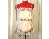 Vintage LACEY TEDDY, Ivory Lace Lingerie, NOS, Nwt, Lace Teddy, Teddie, Chemise, 70s 80s